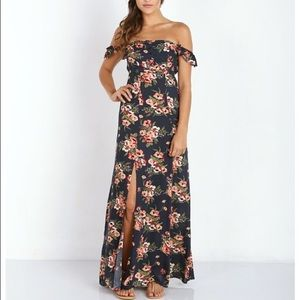 Flynn Skype navy floral dress Bardot off shoulder